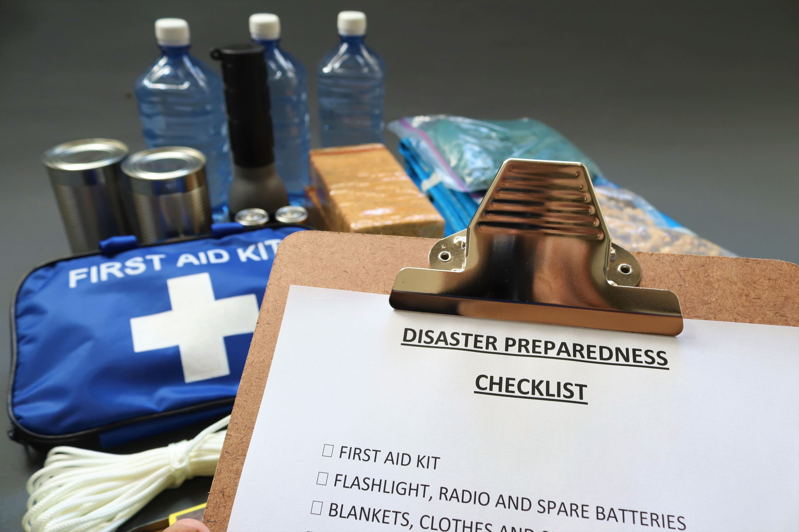 Disaster preparedness checklist and supplies