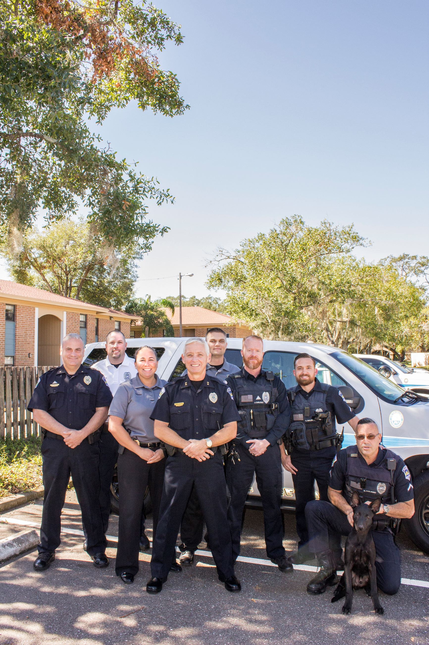 A group of TTPD officers and Police K-9
